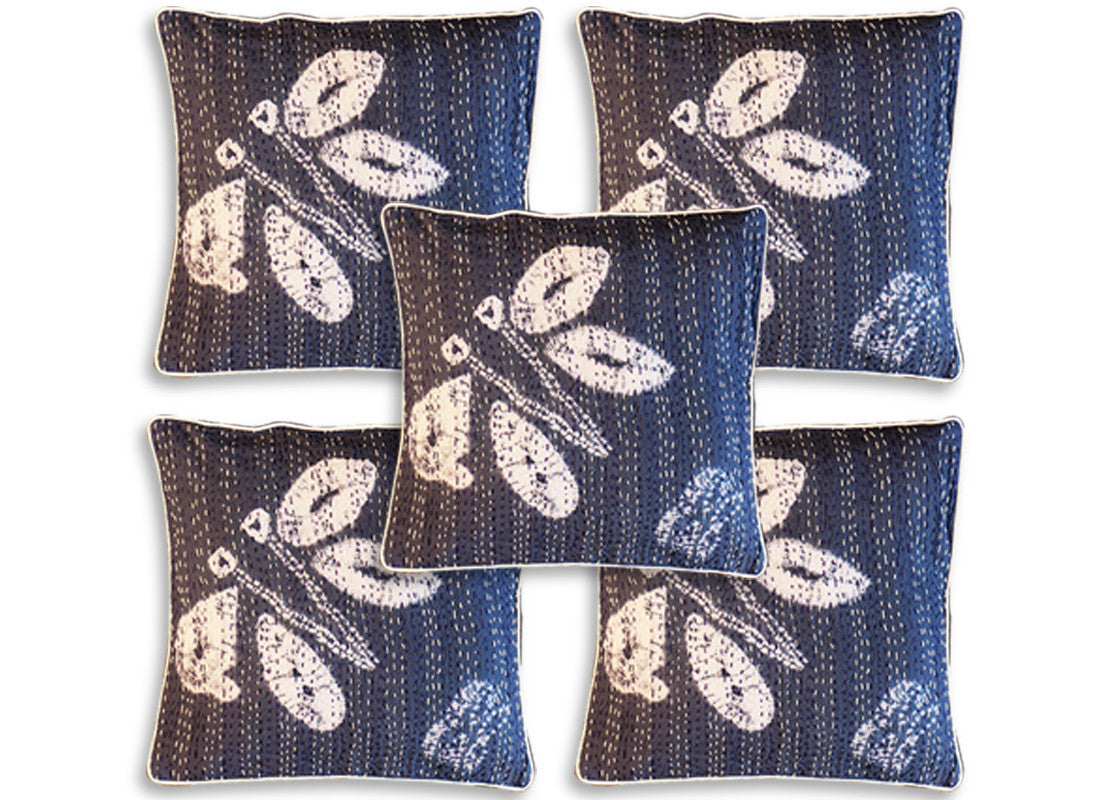Butterfly print kantha cushion covers