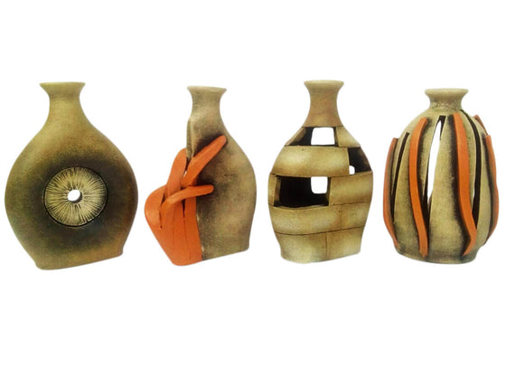 Abstract Art Terracotta Vase Showpiece Set of 4