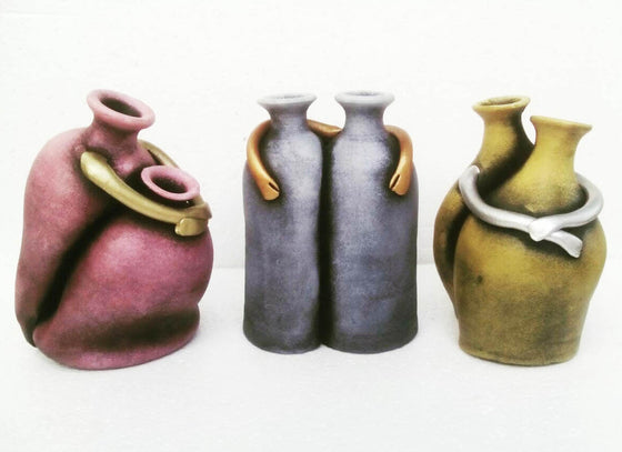 Made for Each Other Terracotta Vase Decor Set of 3