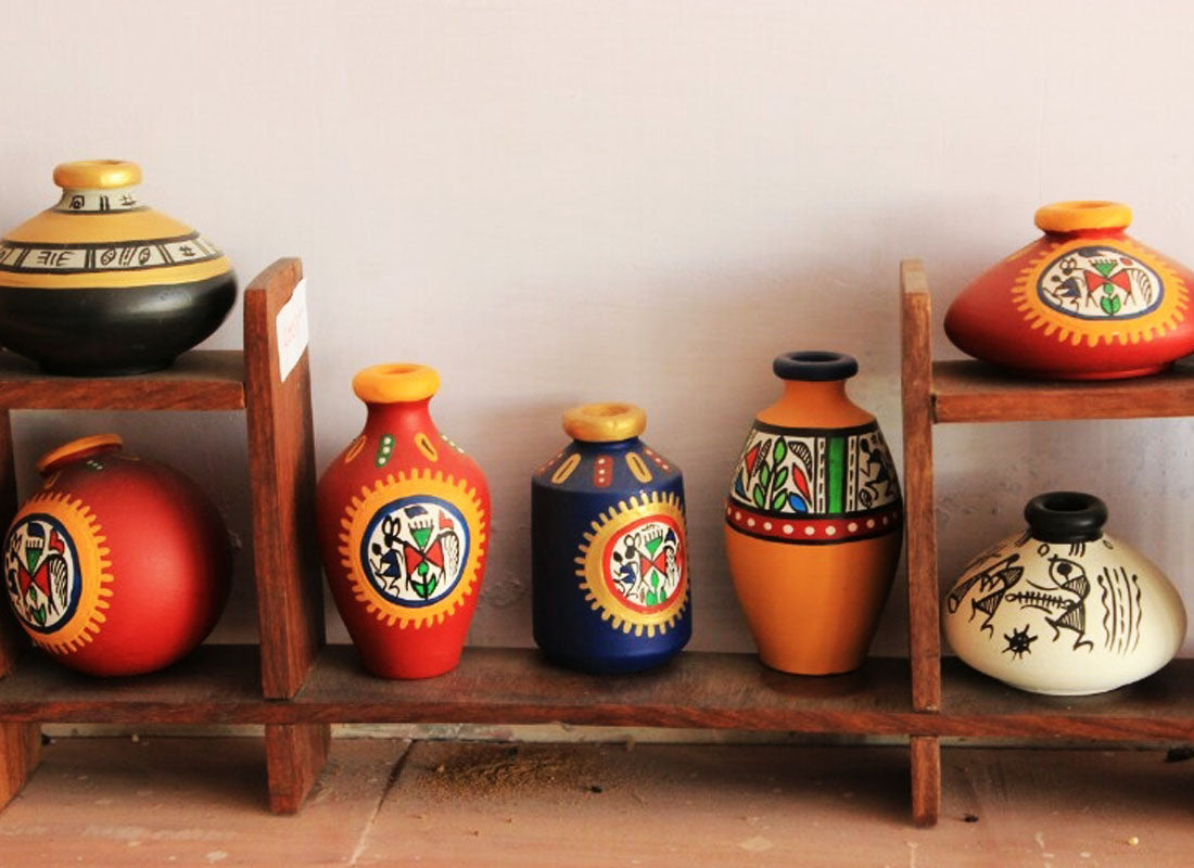 Terracotta Pots with Shelf