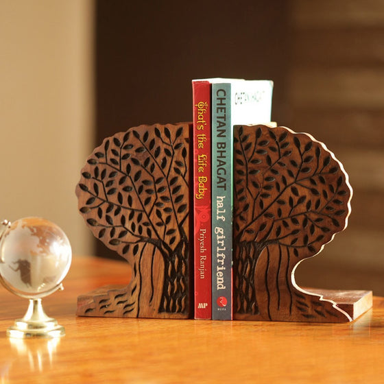 Carved Tree Design Wooden Book Holder