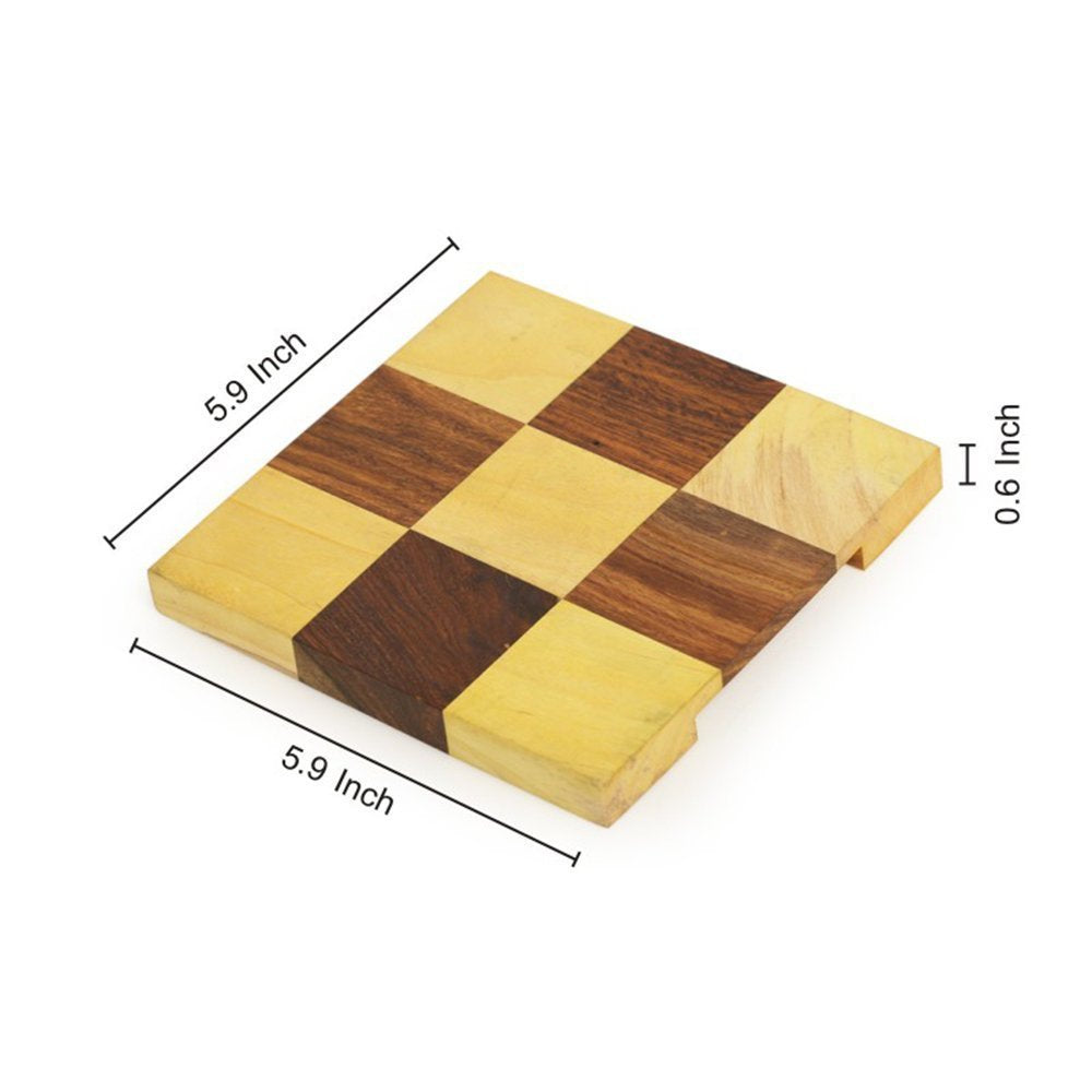 Checkered Wooden Set of 2