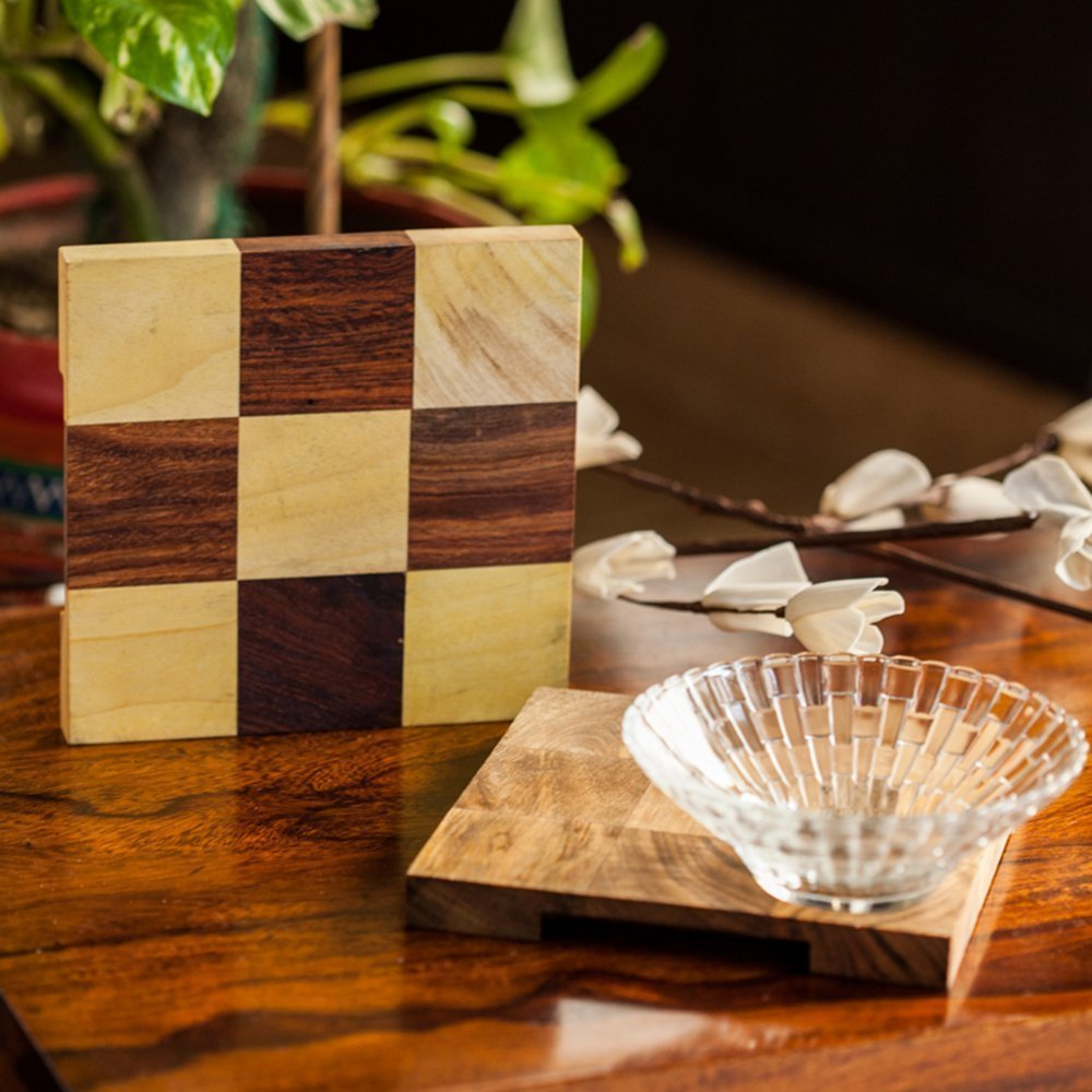 Checkered Wooden Trivet Set of 2