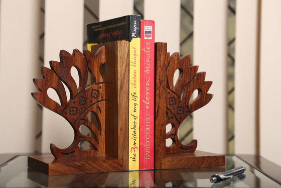 Sheesham Wood Carved Designer Bookend
