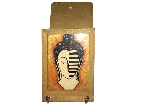 Abstract Buddha Design Wooden Key Holder