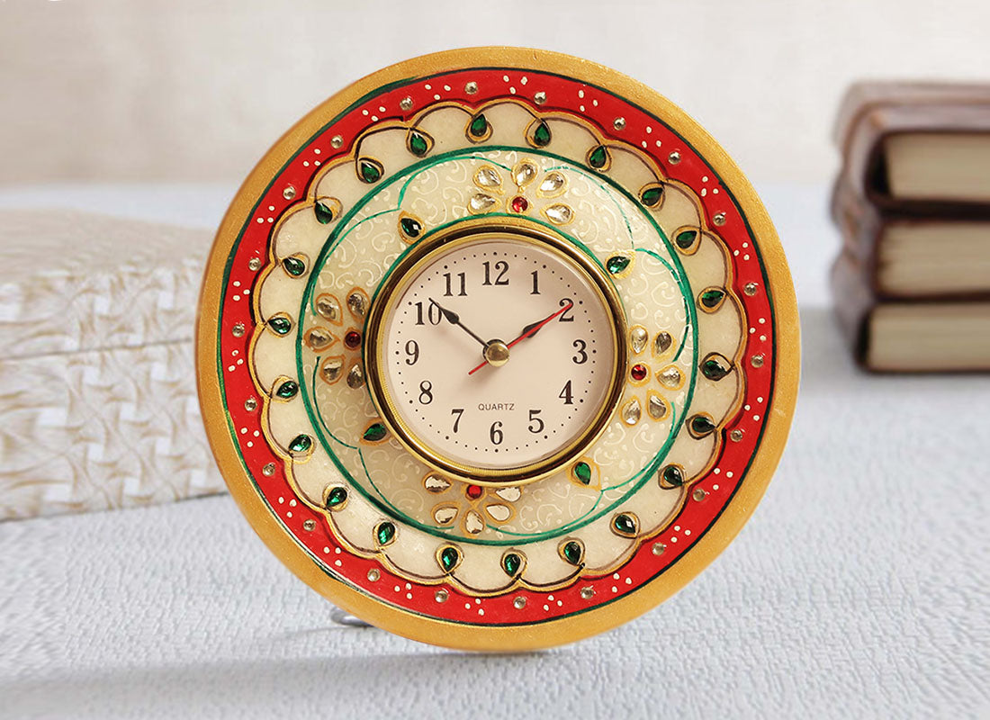 Decorative White Marble Table Clock