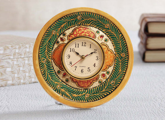 Meenakari Art Marble Table Watch