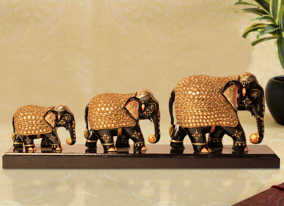 Studded Stone Work Elephant Showpiece