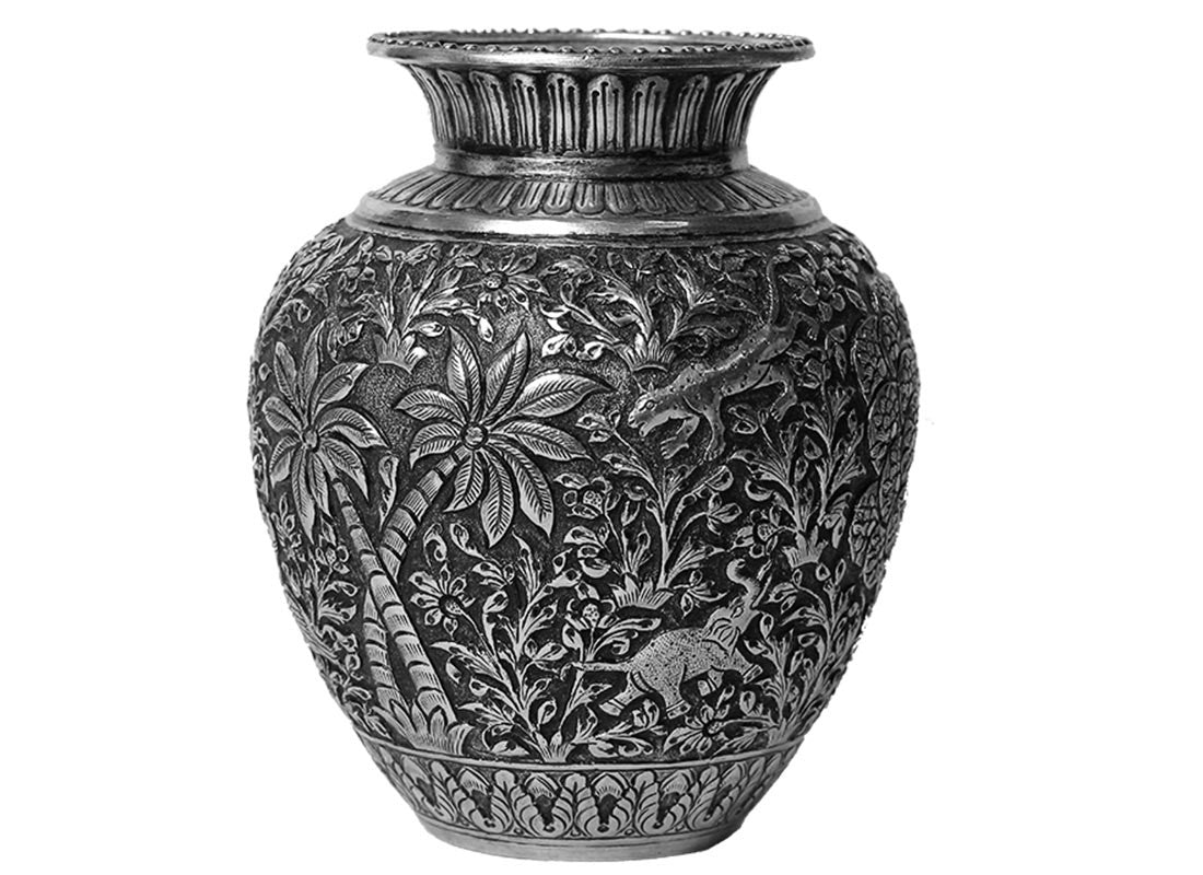 Handcrafted Silver Pot Shikar Design Showpiece