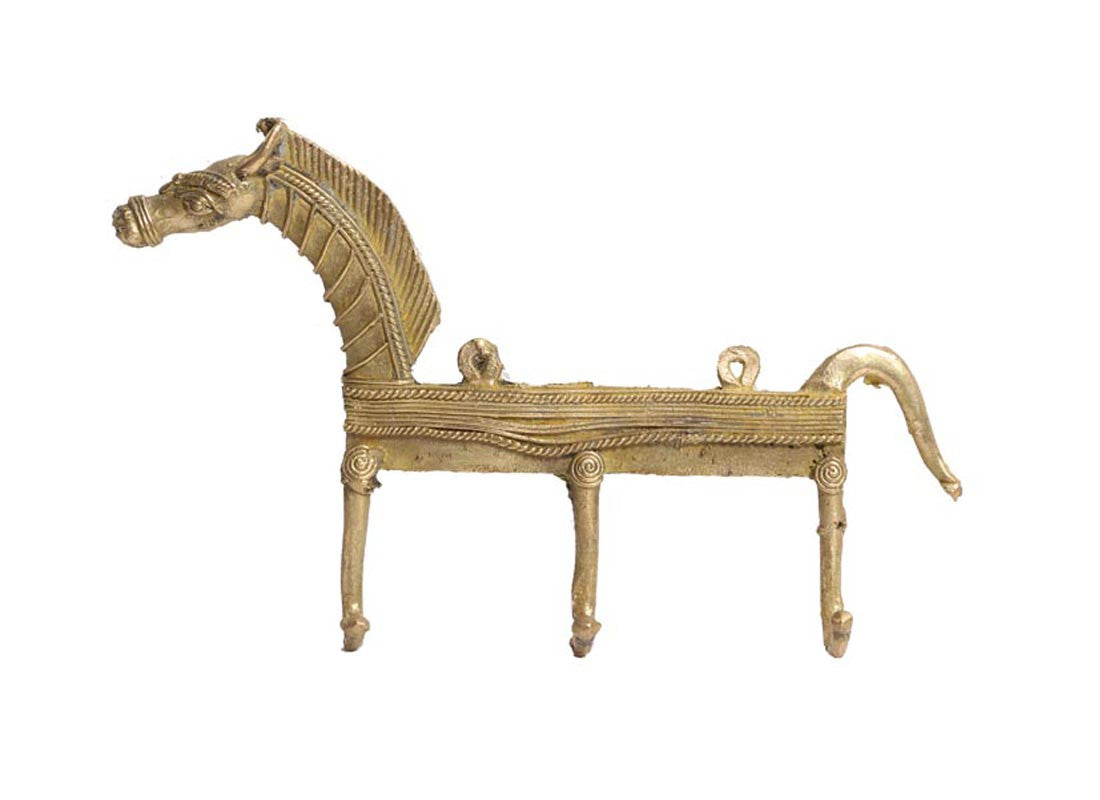 Brass metal horse wall hook