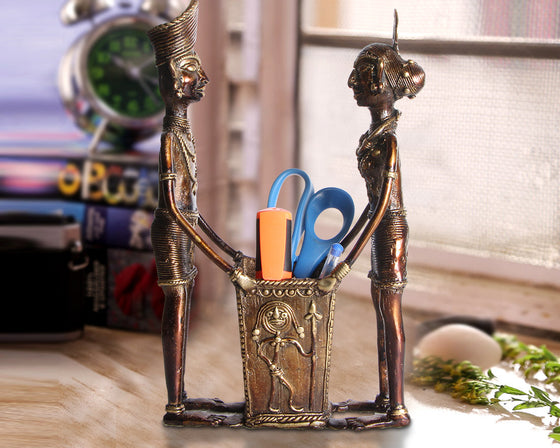 Antique Brass Metal Pen-Stand