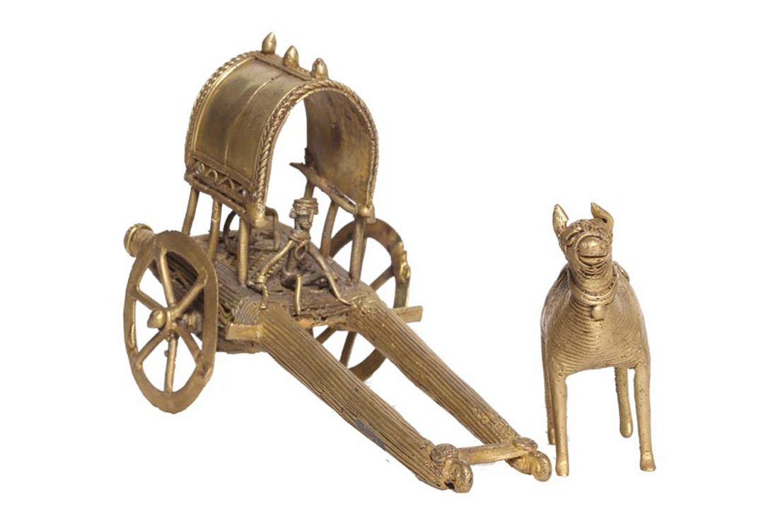 Dhokra Decorative Brass Metal Camel Cart