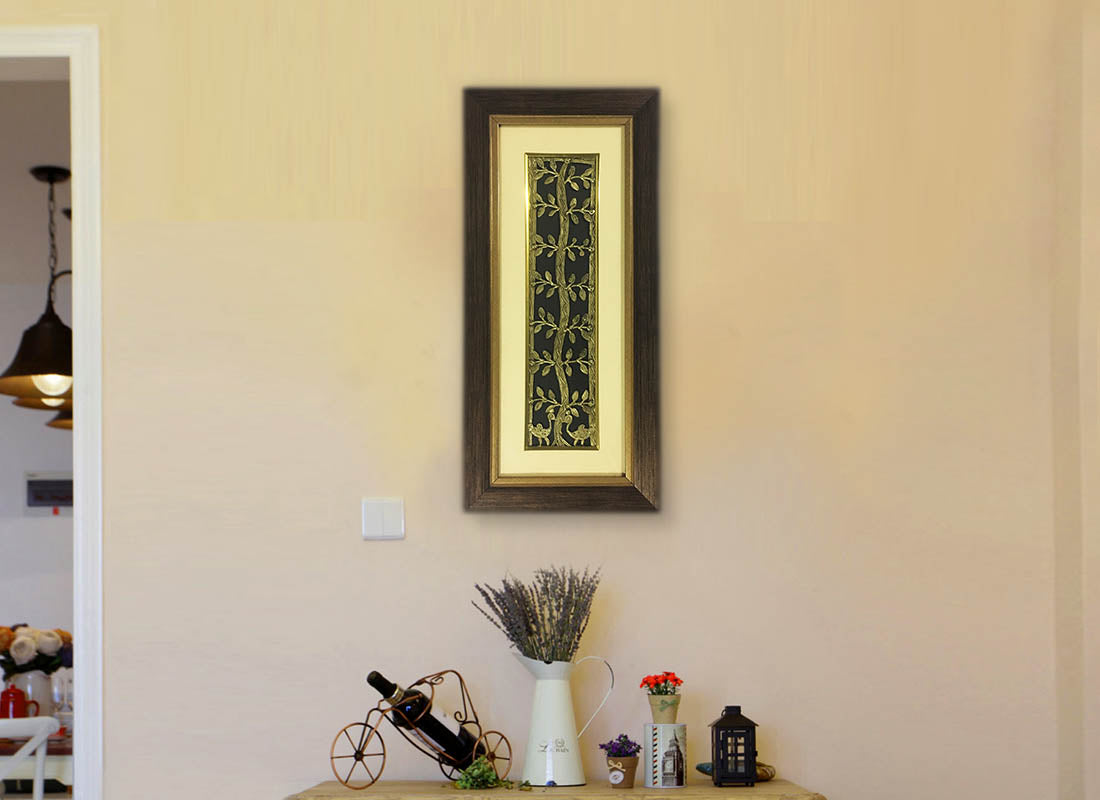 Ethnic Brass Metal Tree Dhokra Wall Frame