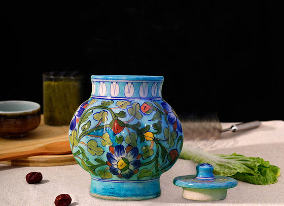 Decorative Oval Blue Food Jar