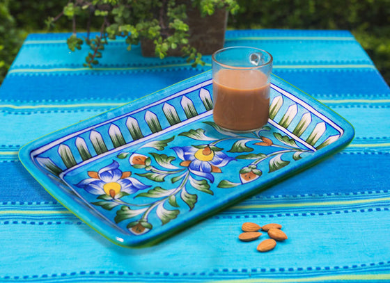 Ethnic Design Blue Pottery Tray