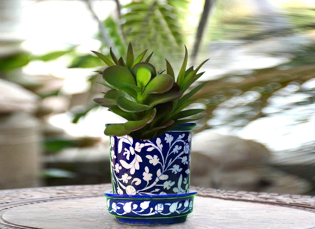 Decorative Blue Pottery Planter Set