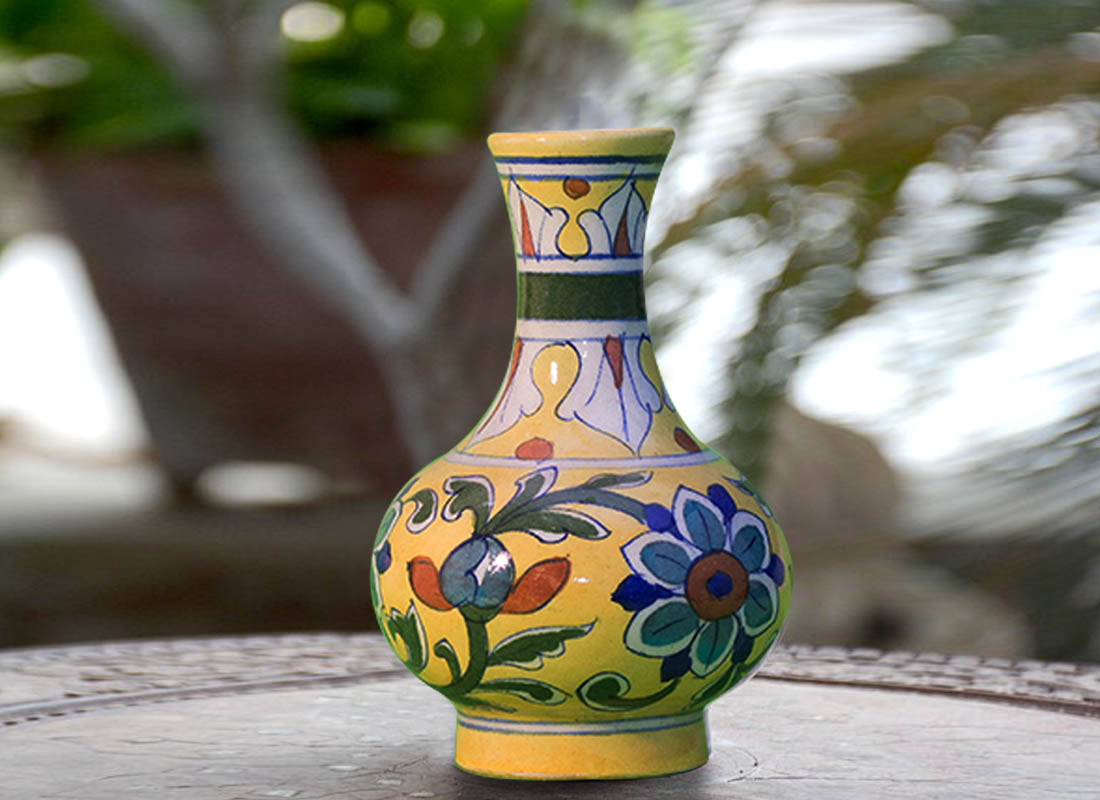 Buy bright yellow decorative vase at lowest rates on craftedindia bright yellow decorative vase reviewsmspy