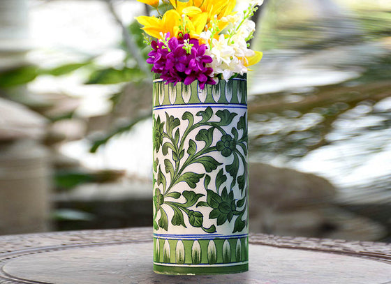 Cylindrical Olive Green Vase Showpiece