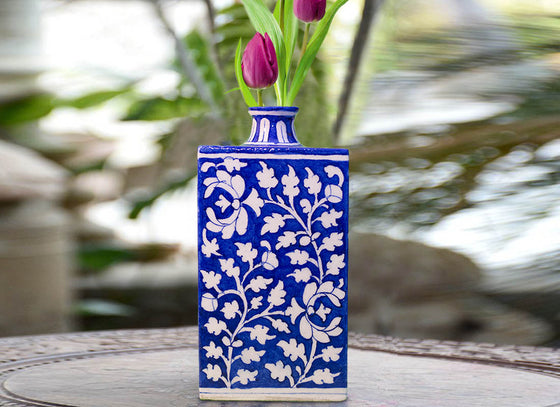 Blue Pottery Fancy Flower Vase