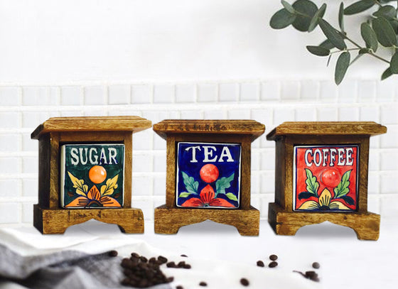 Wooden Tea Coffee Sugar Container Combo