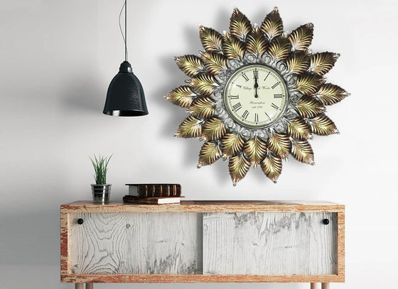 Carved maple leaves wall clock