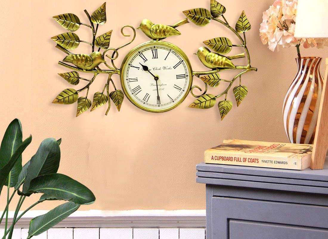 Buy Exotic Leaf and Sparrow Metal Wall Art Clock at Lowest Rates On ...