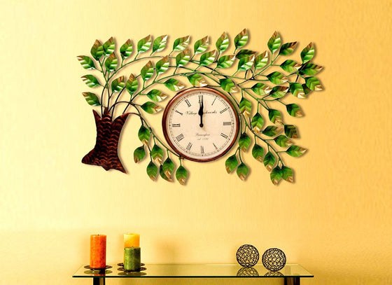Metal Handcrafted Tree Design Wall Hanging Clock