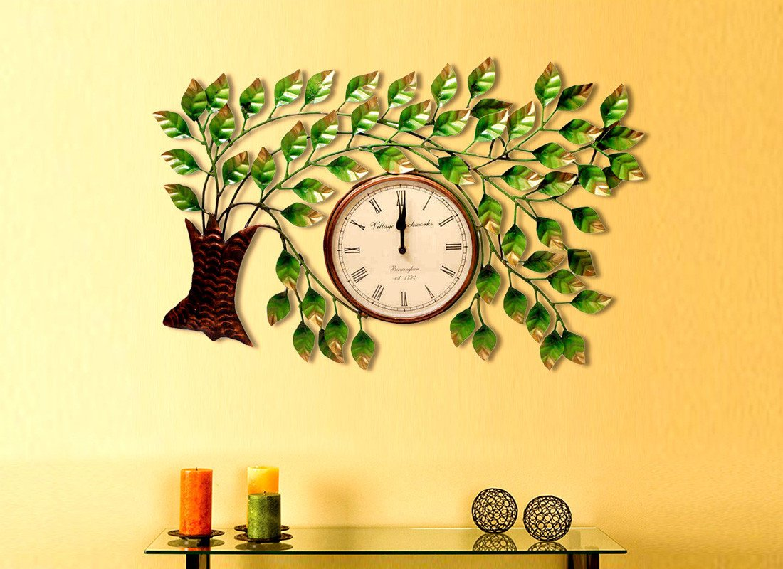 Stylish wall clock online buy designer wall clocks at best prices metal handcrafted tree design wall hanging clock amipublicfo Image collections