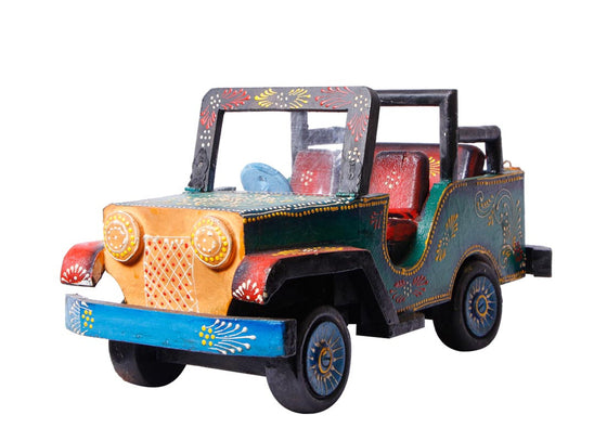 wooden jeep Showpiece