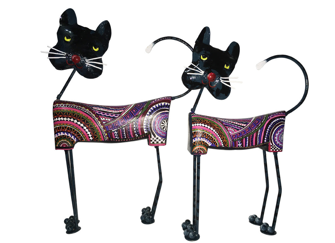 Antique Metal Cat Showpiece Set