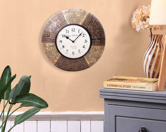 Floral Print Embossed Metal Wall Clock