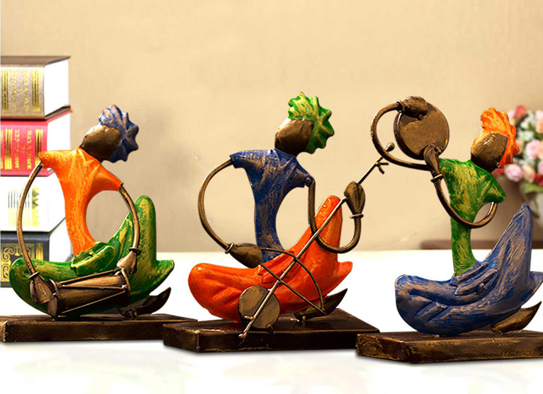 Hand-Painted Set Of Antique Musician Decor
