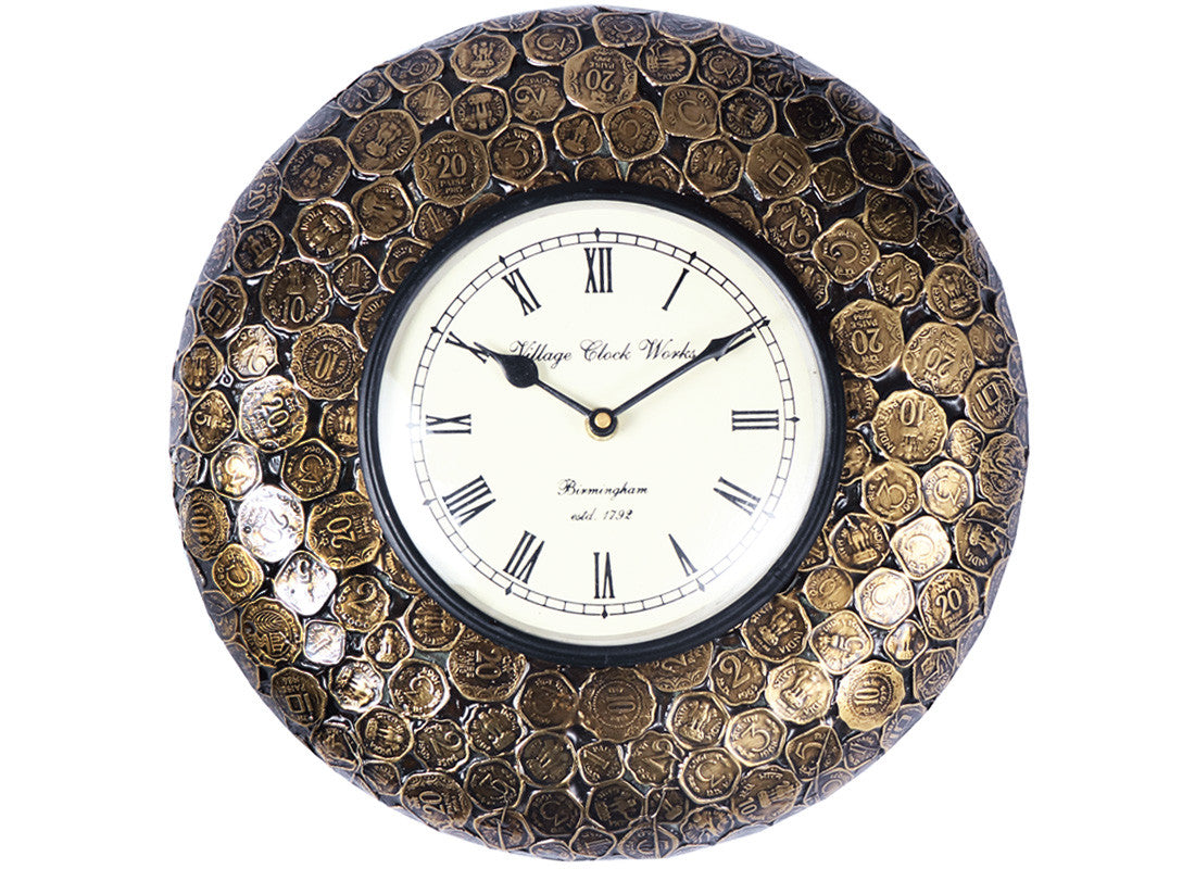 Stylish wall clock online buy designer wall clocks at best prices vintage coin wall clock amipublicfo Images