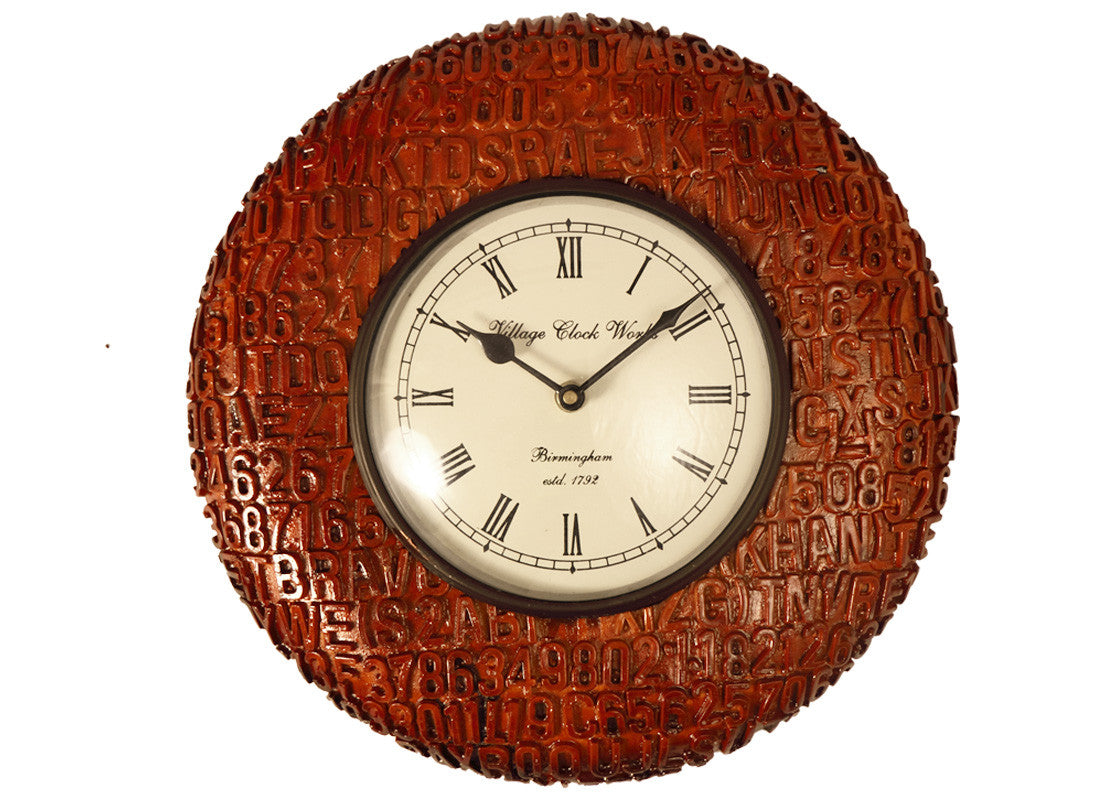 Carved Wooden Alpha Numeric Wall Clock