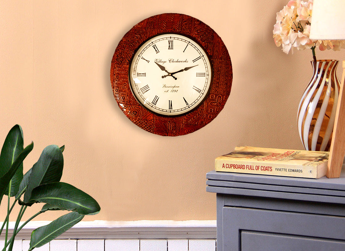 Ethnic Design Wooden Wall Clock
