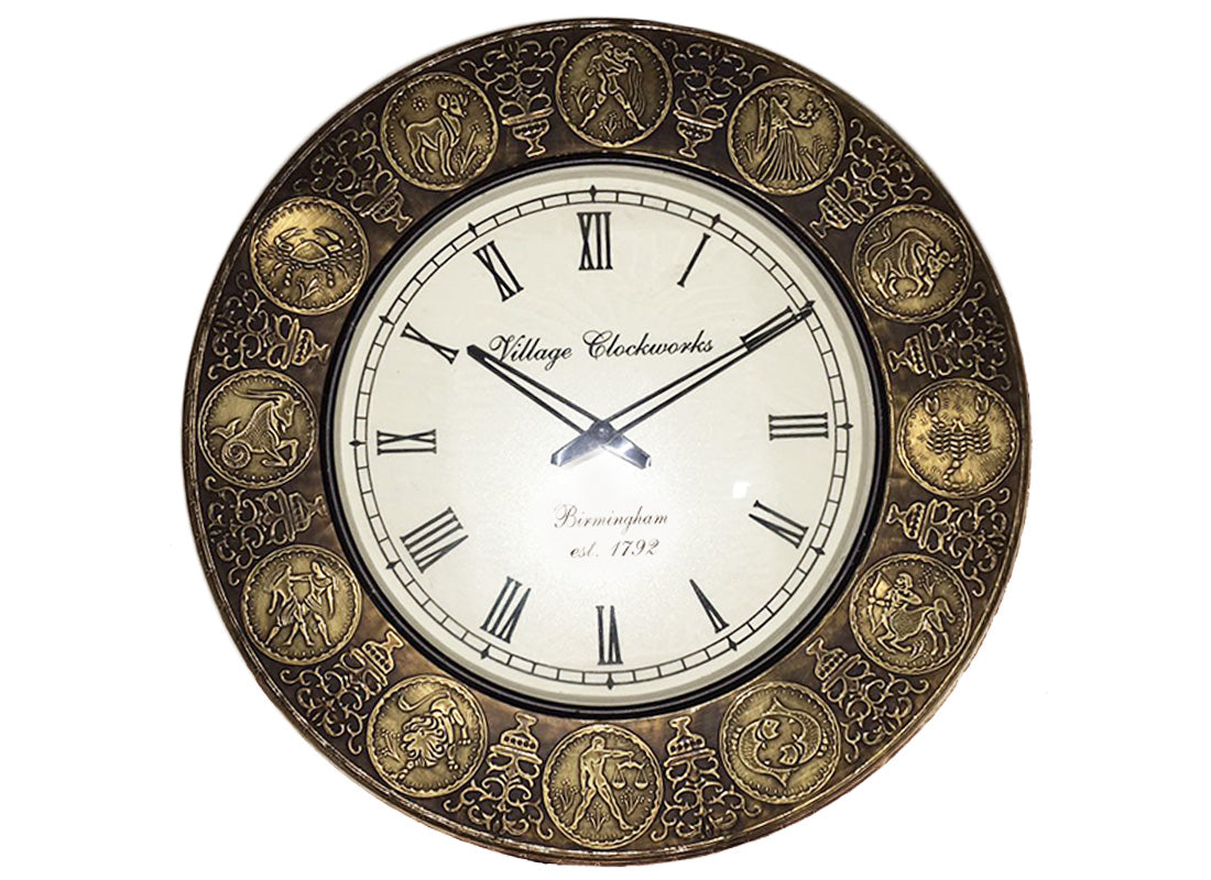 Antique Zodiac Signs Wall Clock