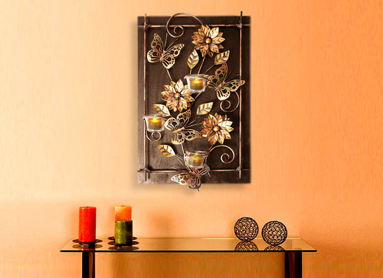 Wooden Frame Wall Hanging Tea Light Candle Holder