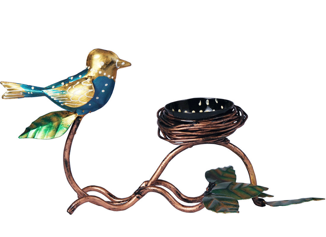 Quirky Metal Bird Candle Holder