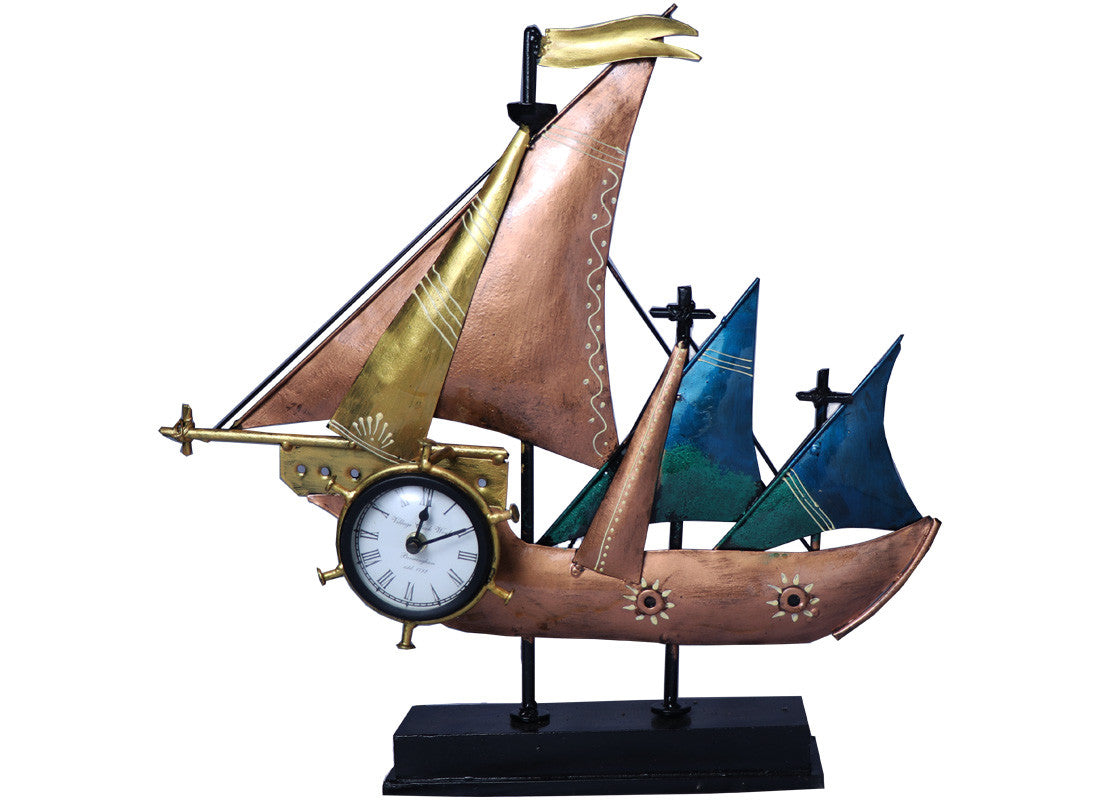 Handcrafted Boat Showpiece Table Clock