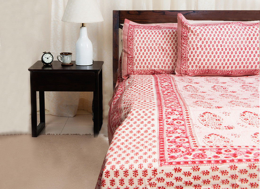 Red printed bed sheet