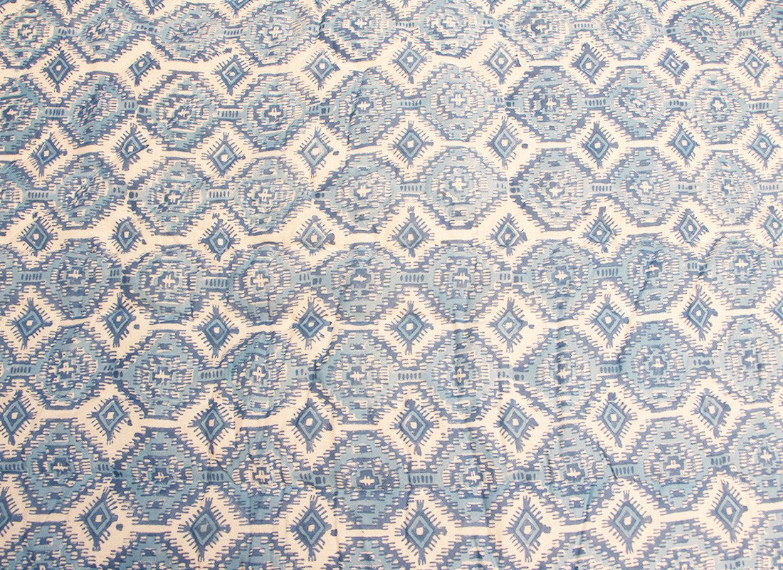 Blue Printed Single Bed Jaipur Quilt