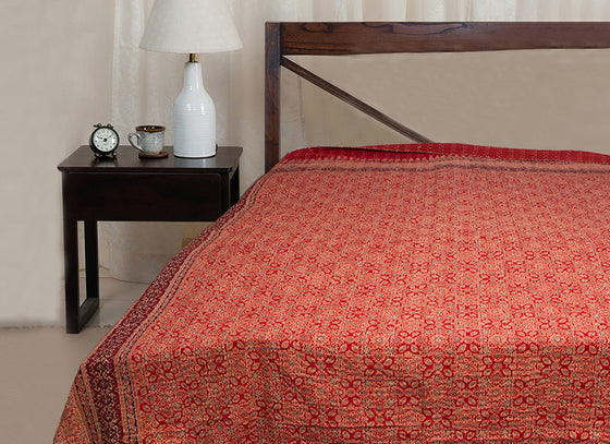 Traditional Ajrakh Print Hand Woven Rajasthani Kantha Bed Sheet