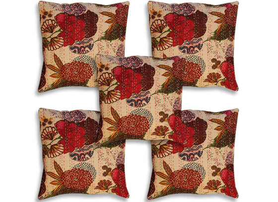 Colorful Print Kantha Work Cushion Covers Set of 5