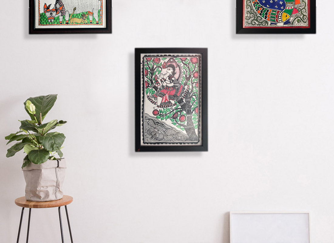 Madhubani Colorful Canvas Wall Art Painting ...  sc 1 st  CraftedIndia & Buy Madhubani Colorful Canvas Wall Art Painting at Lowest Rates On ...