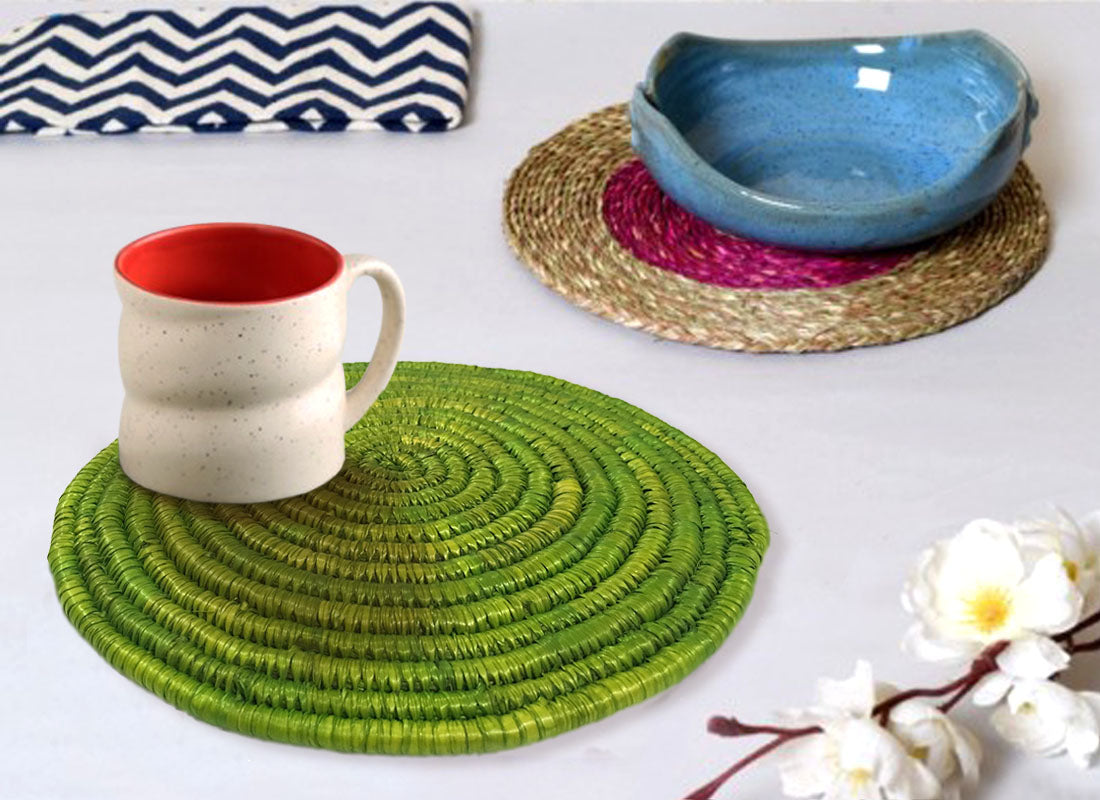 Decorative Green Round Table Placemat