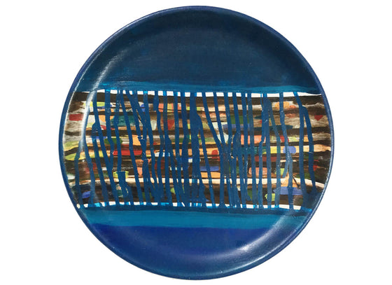 Abstract Art Royal Blue Wall Plate Décor