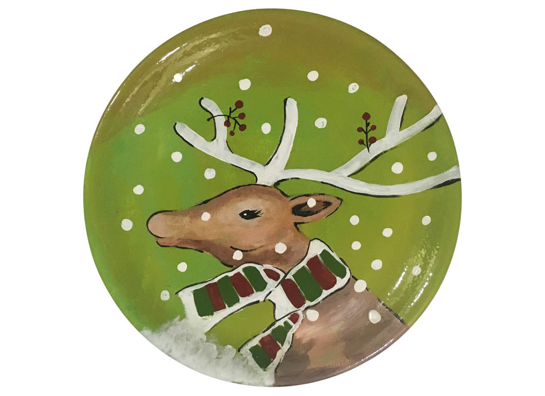 Decorative Green Christmas Design Wall Plate