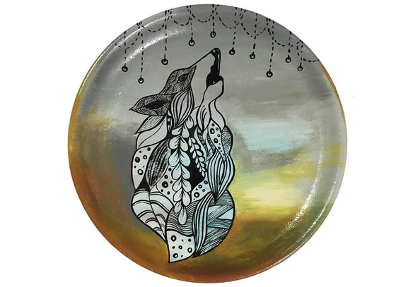 Abstract Art Wolf Design Wall Décor Plate