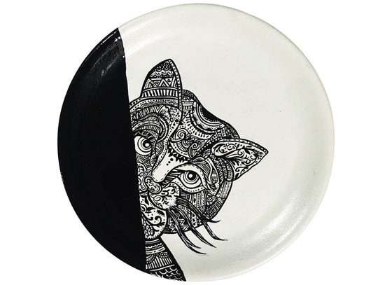 Black & White Henna Art Design Wall Plate Décor