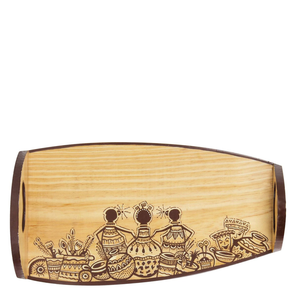 African Design Pine wood Serving Tray